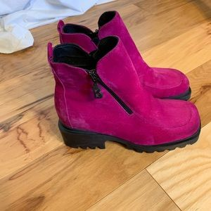 Bogner chunky platform ankle boots raspberry suede